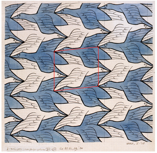 Pattern designed by MC Escher. Red box indicates the repeating unit from which the pattern can be made