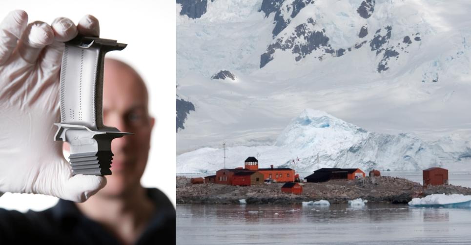 Image on left (courtesy of Rolls Royce) - Turbine Blade. Image on right (© Samuel Blanc) of González Videla Antarctic Base